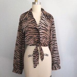 Vintage tiger print cropped tie front blouse